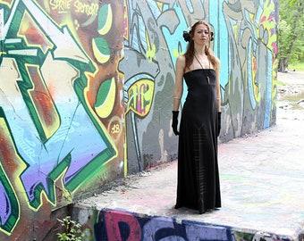Long Black Strapless Max Dress Ogham Print Witch Dress