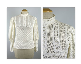 Vintage 70s Crochet Top Blouse S Hippie Chic with Leg O Mutton Sleeves