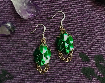 Scale Maille Shield-Maiden Earrings/ Tiny Scale/ Dangle/ Green Aluminum