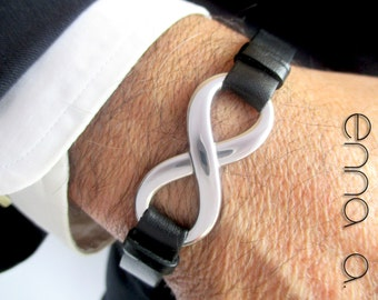 Leather bracelet, with stainless steel infinite Nº 2.