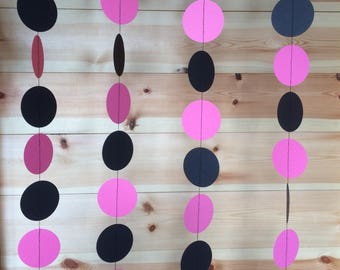 Pink and Black Garland, Pink and Black Circle Garland, Pink and Black Party Decorations,
