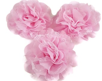 """Pink Chiffon and Lace Flower - 4"""" Full and Fluffy - 4 inches Large"""