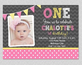 Pink and Yellow Birthday Invitation, Girls 1st Birthday Invitation, Childrens Birthday Invitations, Girls 1st Birthday, Printed Inviations
