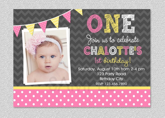 Pink and yellow birthday invitation girls 1st birthday filmwisefo Images