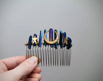 Moon Gazing- Raw Crystal and Crescent Moon Hair Comb, Titanium Quartz Barrette, Blue Celestial Comb, Woodland Star Hair Piece, Elven Jewelry