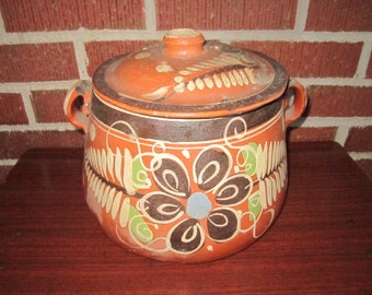 Vintage Enormous Tlaquepaque Mexican Pottery Covered Pot