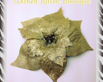 Large Yellow Gold Glitter Poinsettia Hair Flower Pinup Flower Rockabilly Flower Christmas Hair Holiday Hair Accessory Floral Headpiece Bride