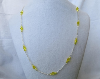 Yellow crystal station necklace with matching earrings set