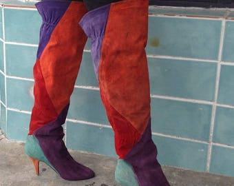 sz 7.5 vintage patchwork  suede high heel thigh high boots