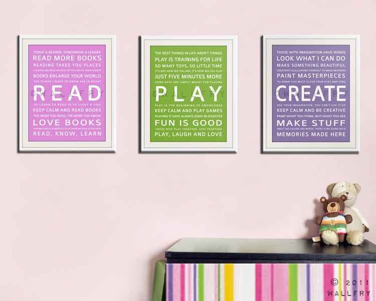 Childrens art for kids. Inspiration Typography Prints- Playroom decor set. read, play, create. Kids wall art. SET OF any 3 prints by WallFry