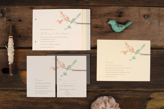 Bird Wedding Invitation: Love Birds Wedding Invitations Art Deco Mint Modern Blossom