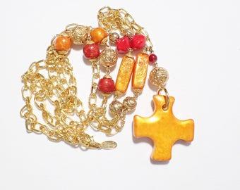 Diane VonFurstenberg DVF Long Orange Cross Gold Tone Vintage Necklace