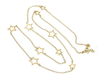 80 cm necklace with alternating stars in 925 sterling silver, hypoallergenic, pink gold plated.