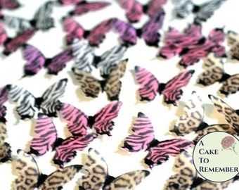 Edible butterflies, 24 animal print  for cake decorating, cookies, cupcakes,  cake pops. Wafer paper butterflies, wedding cake toppers.
