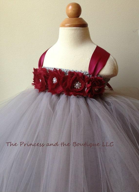 Flower girl dress gray flower girl dress burgundy flower like this item mightylinksfo Gallery