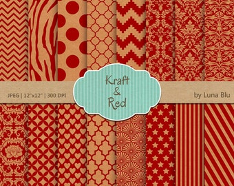"Kraft digital paper pack: ""Kraft and Red Patterns"" textured papers, kraft paper background, red digital paper, patterned paper"