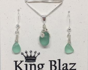 Genuine Sea Glass Sterling Silver Earrings Necklace Set - Sea Foam Green Sea Glass