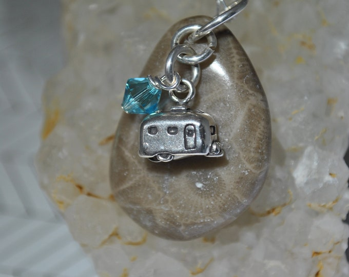 Genuine Petoskey Stone and sterling silver camper charm, Michigan necklace, Up North