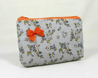 Orange and grey pouch, floral cotton case,  floral zipper pouch, cosmetic case, cotton zipper pouch, gadget case