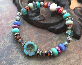 Festival Flower Stretch Bracelet, bohemian bracelet,beachy jewelry, Luxe Jewelry, Neutral Jewels, beaded bracelets, spring2018