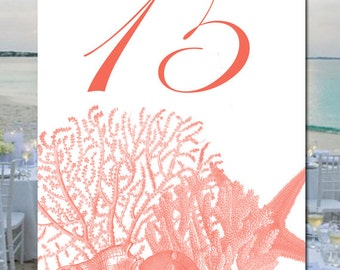 Seashell and Coral Wedding Table Numbers, Created in Your Color, Nautical Table Numbers, Beach Wedding Table Numbers, Beach Place Cards