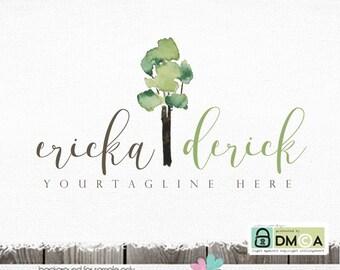 premade logo photography logo tree logo hand drawn logo watercolor logo logo for photographer watercolor tree logo and watermark design logo