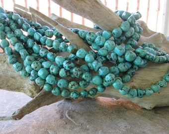 "Natural Turquoise  Nugget Beads Green-Blue approx. 11 MM-13.5 MM 7.5""-15"""
