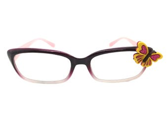 Women's Purple 1.50 Strength Reading Glasses with a Hand-Applied Yellow Butterfly Embellishment. Spring Hinges for Comfort!