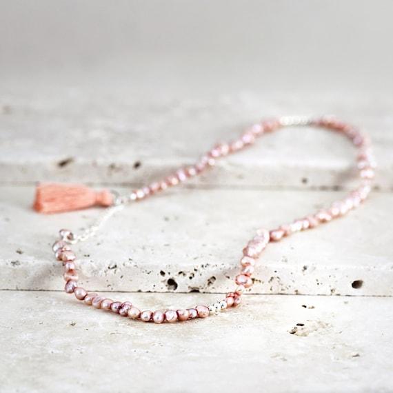 Pink Pearl Necklace or Bracelet - Wrap Bracelet / Wrap Necklace