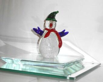 Art Glass Snowman - Figurine - Ornament - Paperweight - 428R