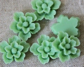 12 pcs of sakura flower cabochon-22mm-rc0166-12-jade green