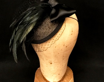 kentucky derby hat, derby hats for women, black feather fascinator, birdcage veil, derby fascinator, kentucky derby fascinator, derby hat