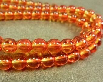 Fire Opal Coated Czech Glass Druk Beads 6mm 25pc Smooth Round