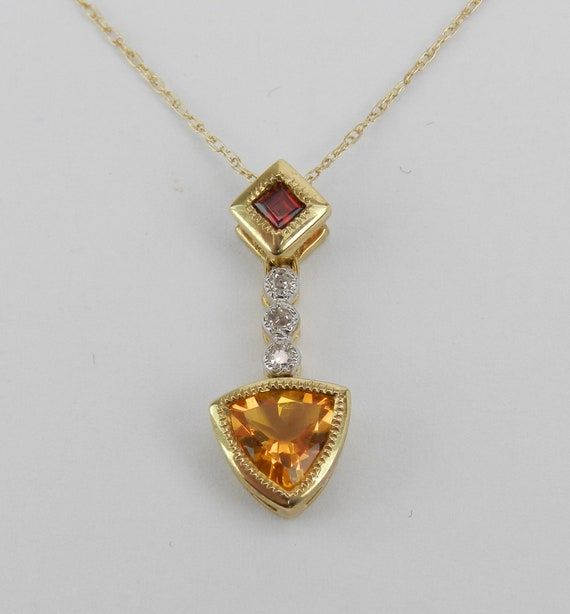 "Trillion Citrine Garnet Diamond Drop Pendant Necklace Yellow Gold 18"" Chain"