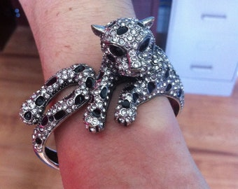 Vintage Leopard Bracelet - Silver Tone Clamp Bracelet - Costume Jewelry - Rhinestones with Black Enamel Spots
