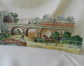 Railroad Ephemera, Railroad Memorabilia, 3D Railroad Scene, Railway Play, Pretend Play, Train Locomotive Ephemera, Vintage Railroad