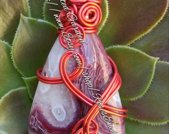 Red Crazy Lace Agate Pendant OOak