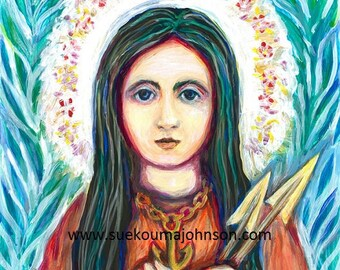 Catholic Art - St Philomena Wonder Worker - Girl Martyr - Confirmation Patron Saint - Print in Three Sizes