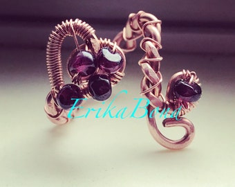 Copper and Garnet Heart Ring