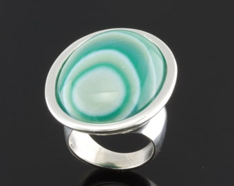 Large Oval Gemstone Sterling Silver Ring