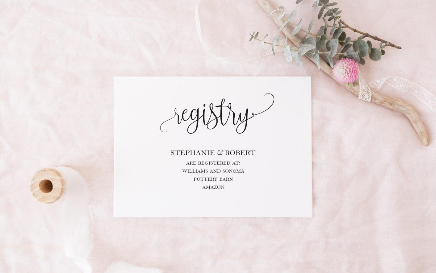 Wedding Registry Card Examples: Black And White Registry Cards Template DIY Gift Registry Card