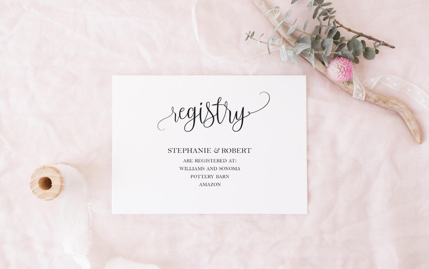 Wedding Registry Invitation: Black And White Registry Cards Template DIY Gift Registry Card