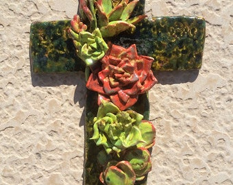 Succulent Garden Pottery Cross