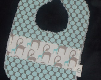 Blue and Gray Giraffes and Dots Chenille Boutique Bib - SALE