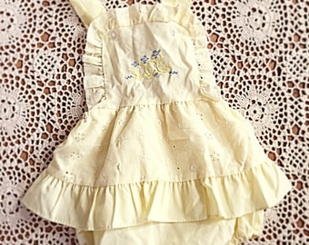 Vintage Baby Girls Yellow Frill Romper