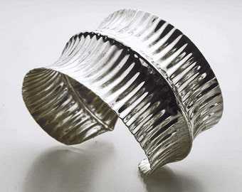 Sterling Silver Corrugated Double Anticlastic Cuff Bracelet