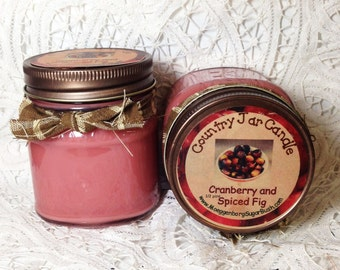Jar Candles, cranberry and spiced fig, mason jar, 1/2 pint, Christmas scent, teacher gift, container candle, Moeggenborg Sugar Bush