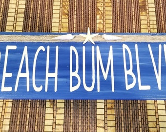 Beach Bum Blvd. Wood Sign, Beach Bum, Hand Painted, Starfish Decor, Shell Decor, Beach Lover Gift, Nautical Decor, Beach House Decor, Beachy