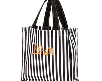 SALE - Monogrammed Halloween Trick or Treat Bag in Black and White Stripes