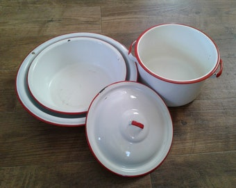 Set of Vintage Red and White Enamelware, Pot, Lid, Bowls